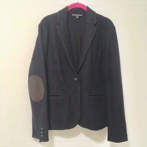 Brooks Brothers Navy Wool Leather Blazer Jacket L